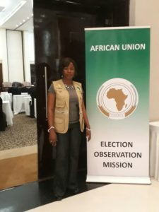 Josephine Alabi, Executive Director of Keen and Care Initiative Nigeria as an Observer on African Union Mission to Kenya for August 8, 2017 Elections